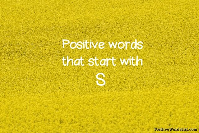 Positive Words That Start With S